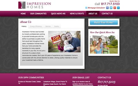 Screenshot of About Page impressionhomes.net - About Us - DFW Home Builders, Impression Homes - captured Sept. 30, 2014