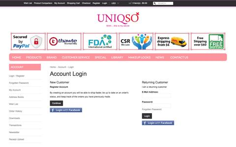 Screenshot of Login Page uniqso.com - Account Login - captured Jan. 15, 2016