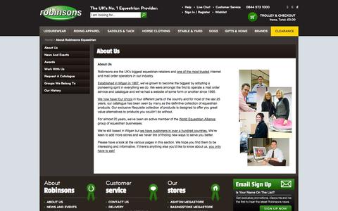 Screenshot of About Page robinsonsequestrian.com - About Robinsons Equestrian - captured Sept. 19, 2014