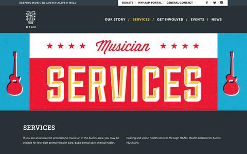 Screenshot of Services Page myhaam.org - Services - Health Alliance for Austin Musicians - captured Oct. 2, 2014
