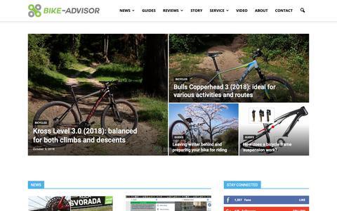 Screenshot of Home Page bike-advisor.com - Bicycle reviews, bicycle guides, bike news |Bike Advisor - captured Oct. 10, 2018