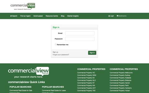 Screenshot of Login Page commercialview.com.au - Commercial Real Estate and Property For Sale in Australia - captured Feb. 2, 2016