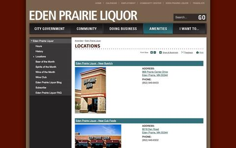 Screenshot of Locations Page edenprairie.org - City of Eden Prairie : Locations - captured Sept. 19, 2014