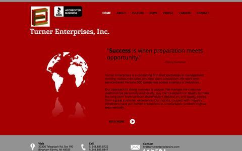 Screenshot of Home Page turnerenterprisesinc.com - Turner Enterprises - captured Sept. 30, 2014