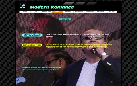 Screenshot of Press Page modern-romance.com - Media - Modern Romance - captured April 10, 2016