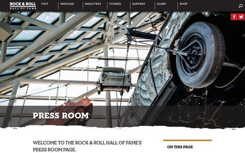 Screenshot of Press Page rockhall.com - Press Room | Rock & Roll Hall of Fame - captured Sept. 3, 2016