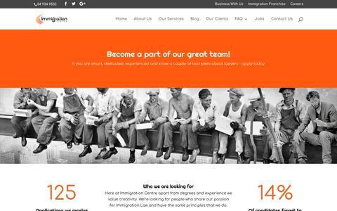 Screenshot of Jobs Page immigrationcentre.co.nz - Careers - Immigration Centre - captured Sept. 20, 2017