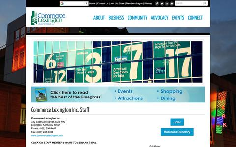 Screenshot of Contact Page commercelexington.com - Commerce Lexington Staff - Commerce Lexington Inc.   Lexington, KY - captured Sept. 29, 2018