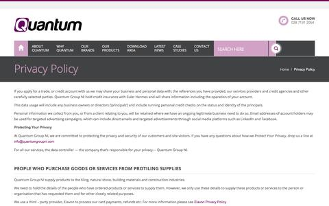 Screenshot of Privacy Page quantumgroupni.com - Quantum Privacy Policy - Quantum - captured July 22, 2018