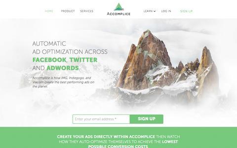 Screenshot of Home Page accomplice.io - Accomplice | Digital Marketing Optimization - captured Oct. 8, 2015