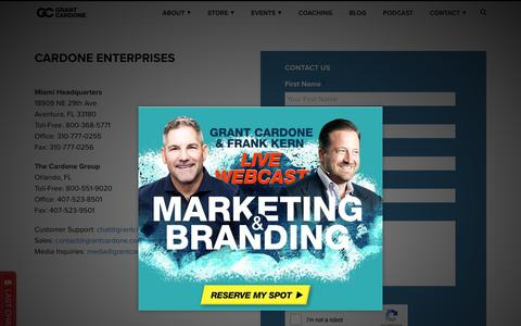 Screenshot of Contact Page Support Page grantcardone.com - Customer Support - Grant Cardone - 10X Your Business and Life - captured July 6, 2019