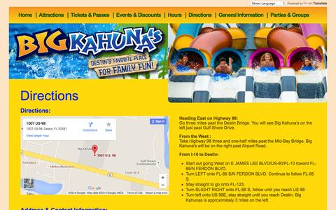 Screenshot of Maps & Directions Page bigkahunas.com - Big Kahuna's - Hours and Directions - captured Jan. 14, 2016