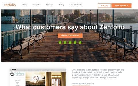 Screenshot of Testimonials Page zenfolio.com - Zenfolio - Reviews - captured April 20, 2018