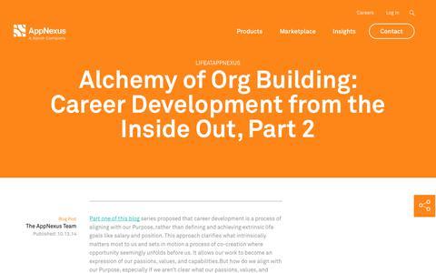Screenshot of Jobs Page appnexus.com - Alchemy of Org Building: Career Development from the Inside Out, Part 2 | AppNexus - captured Nov. 18, 2019