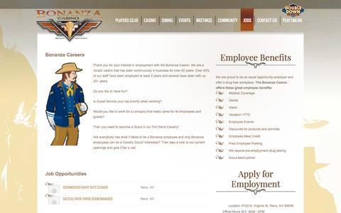 Screenshot of Jobs Page bonanzacasino.com - Job Openings   Bonanza Casino   Reno, NevadaBonanza Casino   Reno, Nevada - captured Jan. 6, 2016