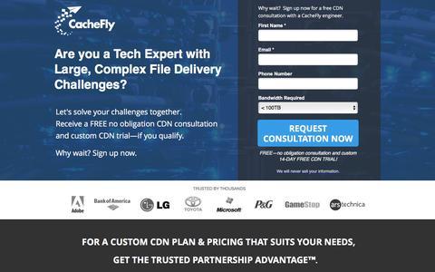 Screenshot of Landing Page cachefly.com - eCDN | Enterprise CDN - CacheFly | High Volume CDN Plan - captured Feb. 4, 2017