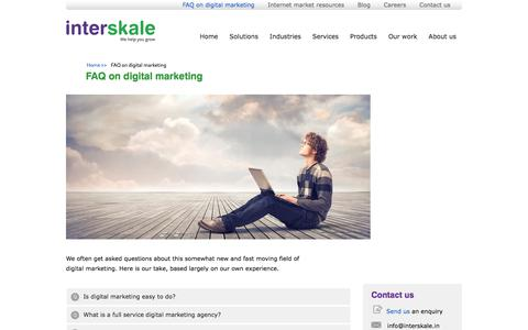 Screenshot of FAQ Page interskale.in - FAQ on digital marketing | Digital marketing: an agency viewpoint - captured Aug. 27, 2018