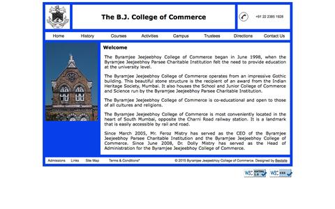 Screenshot of Home Page bj-cc.org - Home | Byramjee Jeejeebhoy College of Commerce - captured Oct. 10, 2015