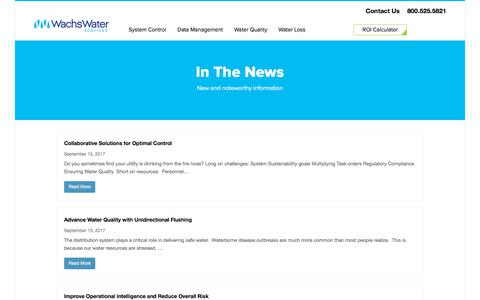 Screenshot of Press Page wachsws.com - News | Wachs Water Services - captured Oct. 18, 2017