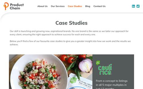 Screenshot of Case Studies Page productchain.com - Case Studies Archive - Product Chain - captured Sept. 30, 2018