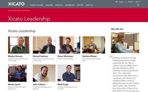 Screenshot of Team Page xicato.com - Xicato Leadership | Xicato - captured Oct. 27, 2014