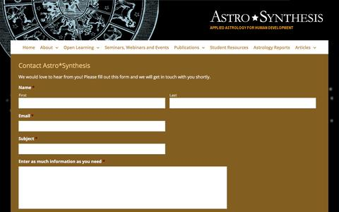 Screenshot of Contact Page astrosynthesis.com.au - Contact | Astro*Synthesis Astrology - captured June 29, 2018