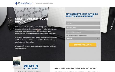 Screenshot of Landing Page friesenpress.com - Ebook Self-Publishing | FriesenPress - captured March 17, 2016