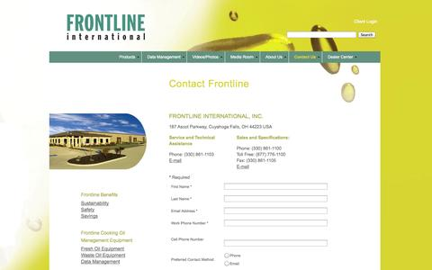 Screenshot of Contact Page frontlineii.com - Contact Frontline - captured Oct. 6, 2014