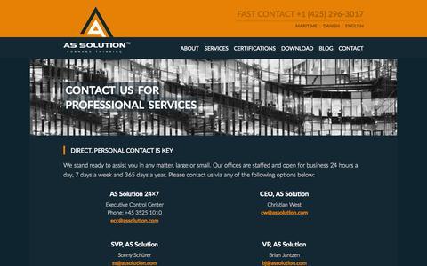 Screenshot of Contact Page assolution.com - Contact - AS Solution AS Solution - captured Oct. 29, 2014