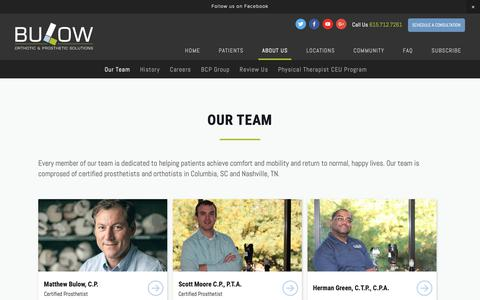 Screenshot of Team Page bulowops.com - Columbia, SC Prosthetists | Nashville, TN Orthotic Specialists | Bulow — Bulow Orthotic & Prosthetic Solutions - captured Nov. 20, 2018