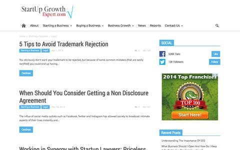 Screenshot of Terms Page startupgrowthexpert.com - Legal Archives - StartUp Growth Expert: - captured Sept. 23, 2014