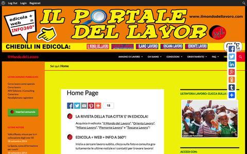 Screenshot of Home Page ilmondodellavoro.com - Annunci di lavoro - captured Sept. 30, 2014