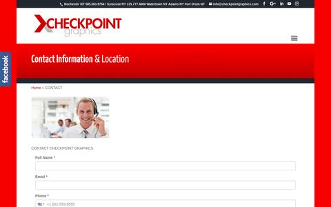 Screenshot of Contact Page checkpointgraphics.com - Watertown NY | Rochester NY | Enitre USA | Contact Checkpoint Graphics - captured Sept. 27, 2018