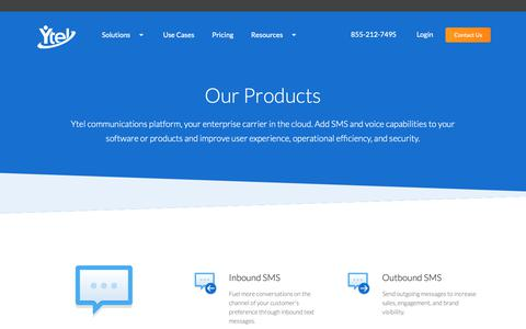 Screenshot of Products Page ytel.com - Ytel Products | SMS API, Voice API, Conversational AI, Contact Center & More - captured May 5, 2019