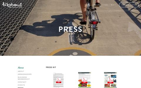 Screenshot of Press Page bikabout.com - Bikabout in the News — bikabout - captured Oct. 28, 2014