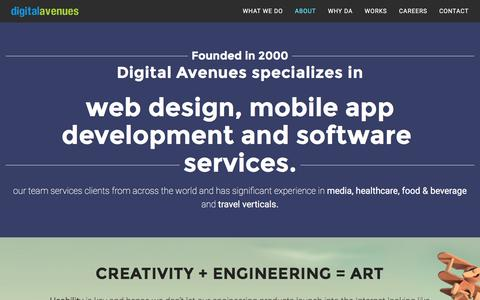 Screenshot of About Page digitalavenues.com - About   Digital Avenues - captured Feb. 9, 2016