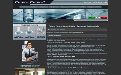 Screenshot of Testimonials Page futurofuturo.com - Futuro Futuro - Customer Testimonials - captured Jan. 8, 2016
