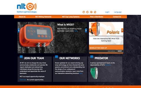 Screenshot of Home Page nltinc.com - NLT  – Northern Light Technologies - captured Oct. 6, 2014