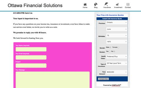 Screenshot of Contact Page ottawafinancialsolutions.ca - 48 Hours Hotline - Ottawa Financial Solutions - captured Oct. 29, 2014