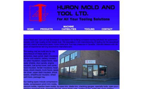 Screenshot of Home Page huronmoldandtool.com - Huron Mold & Tool Ltd - captured Oct. 3, 2014