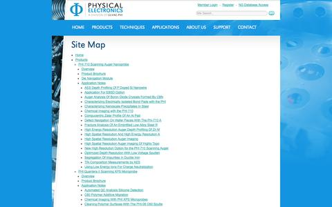 Screenshot of Site Map Page phi.com - Surface Analysis Instruments and Equipment | Physical Electronics, Inc. - captured Oct. 2, 2014