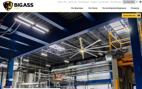 Screenshot of Home Page bigassfans.com - HVLS Fans   Industrial & Commercial Ceiling Fans   Big Ass Fans - captured Nov. 3, 2015