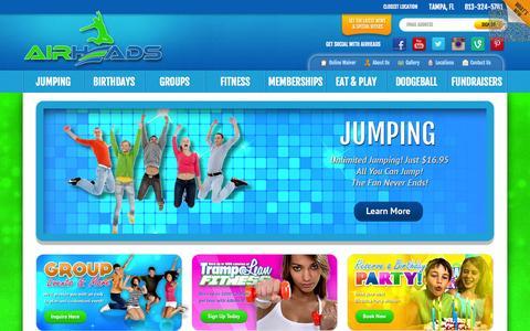 Screenshot of Home Page airheadsusa.com - Indoor Trampoline Arena | Birthday Party | Tampa, Orlando | Fun Center - captured Sept. 19, 2014