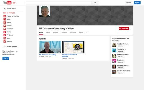 Screenshot of YouTube Page youtube.com - FM Database Consulting's Video  - YouTube - captured Oct. 23, 2014