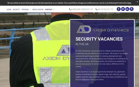 Screenshot of Jobs Page axiomdynamics.co.uk - Security vacancies available at Axiom Dynamics Ltd - captured Nov. 6, 2018