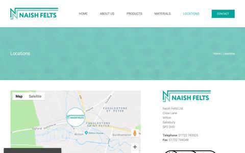 Screenshot of Locations Page naishfelts.com - Locations - Naish Felts Ltd - captured Dec. 13, 2018