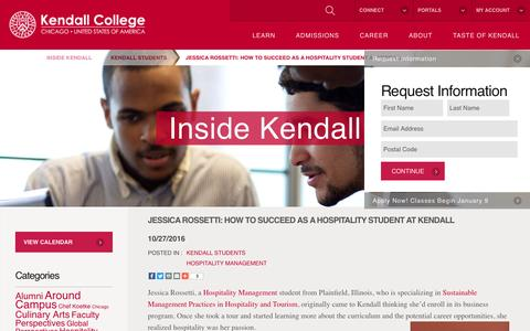 Screenshot of Blog kendall.edu - Jessica Rossetti: How to Succeed as a Hospitality Student at Kendall - Kendall College - captured Nov. 13, 2016