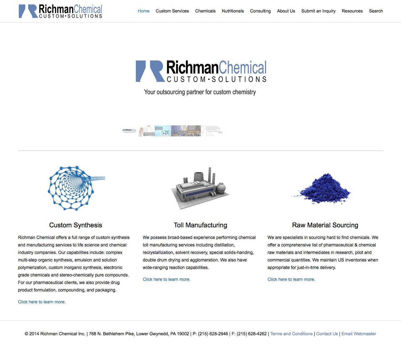 Screenshot of richmanchemical.com - Richman Chemical Inc. | Custom Synthesis | Toll Manufacturing | Raw Material Sourcing - captured Feb. 15, 2016