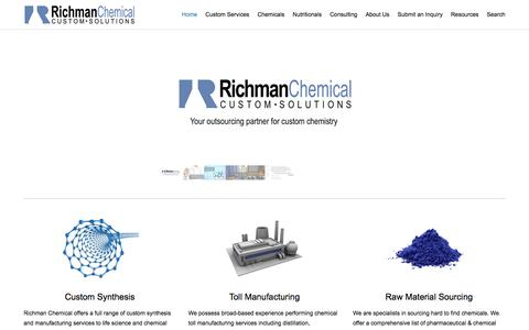 Screenshot of Home Page richmanchemical.com - Richman Chemical Inc. | Custom Synthesis | Toll Manufacturing | Raw Material Sourcing - captured Feb. 15, 2016