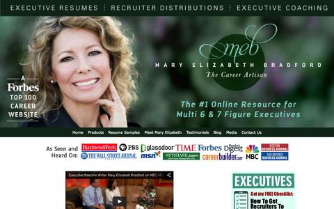 Screenshot of Home Page maryelizabethbradford.com - Executive Resume Writer | Mary Elizabeth Bradford - captured Sept. 17, 2015